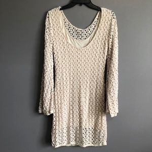 Free People Dresses - Free People • Crochet Cream Bell Sleeve Dress